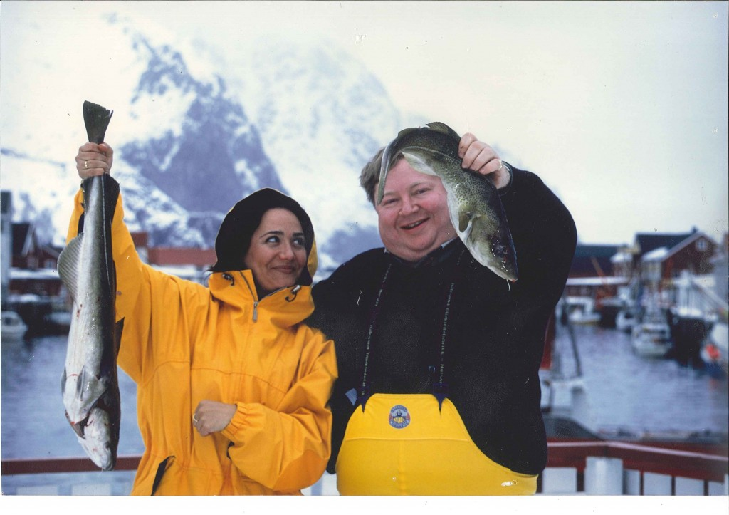 Con los salmones en noruega